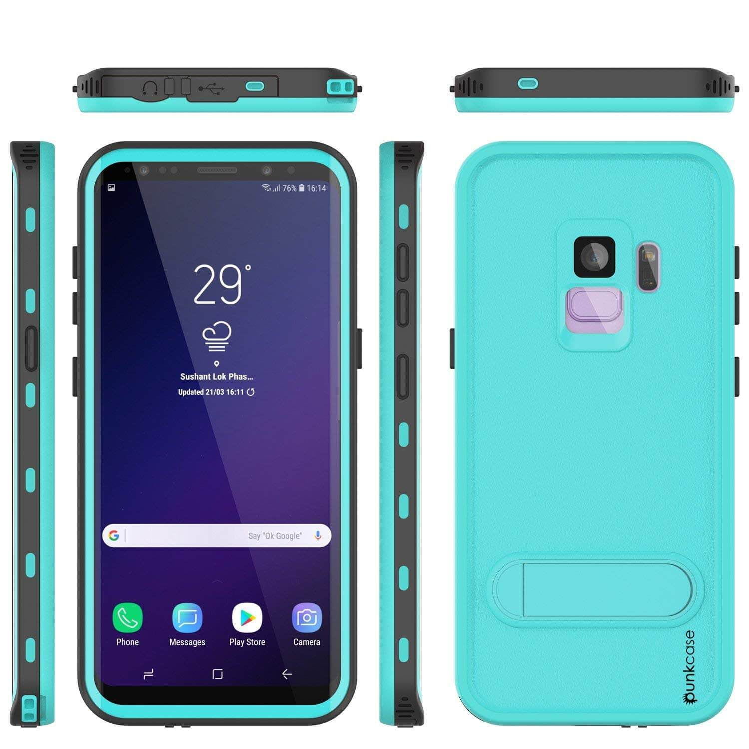 Galaxy S9 Waterproof Case, Punkcase [KickStud Series] Armor Cover,Teal