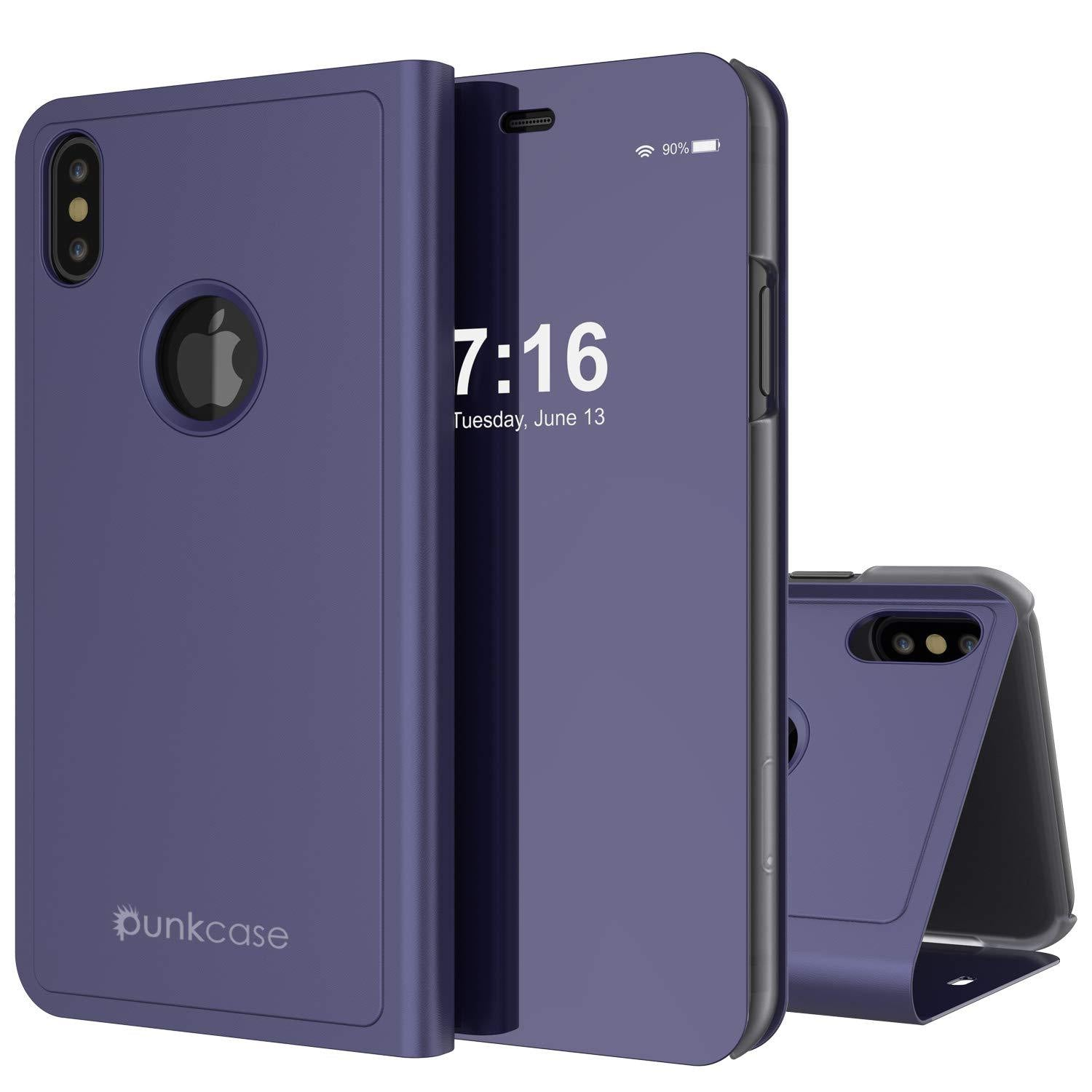 Punkcase iPhone XS Max Reflector Case Protective Flip Cover [Purple]
