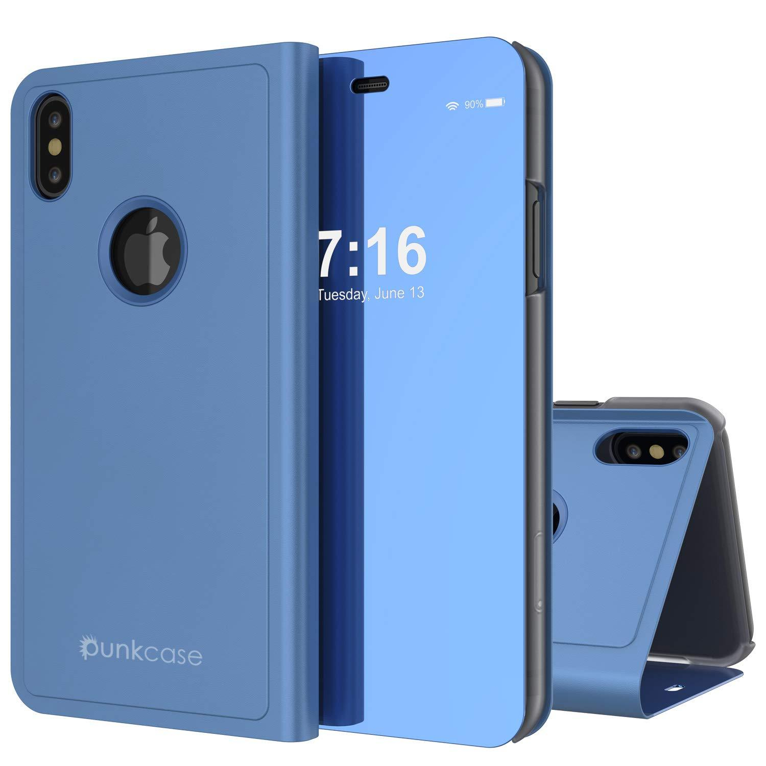 Punkcase iPhone XS Max Reflector Case Protective Flip Cover [Blue]