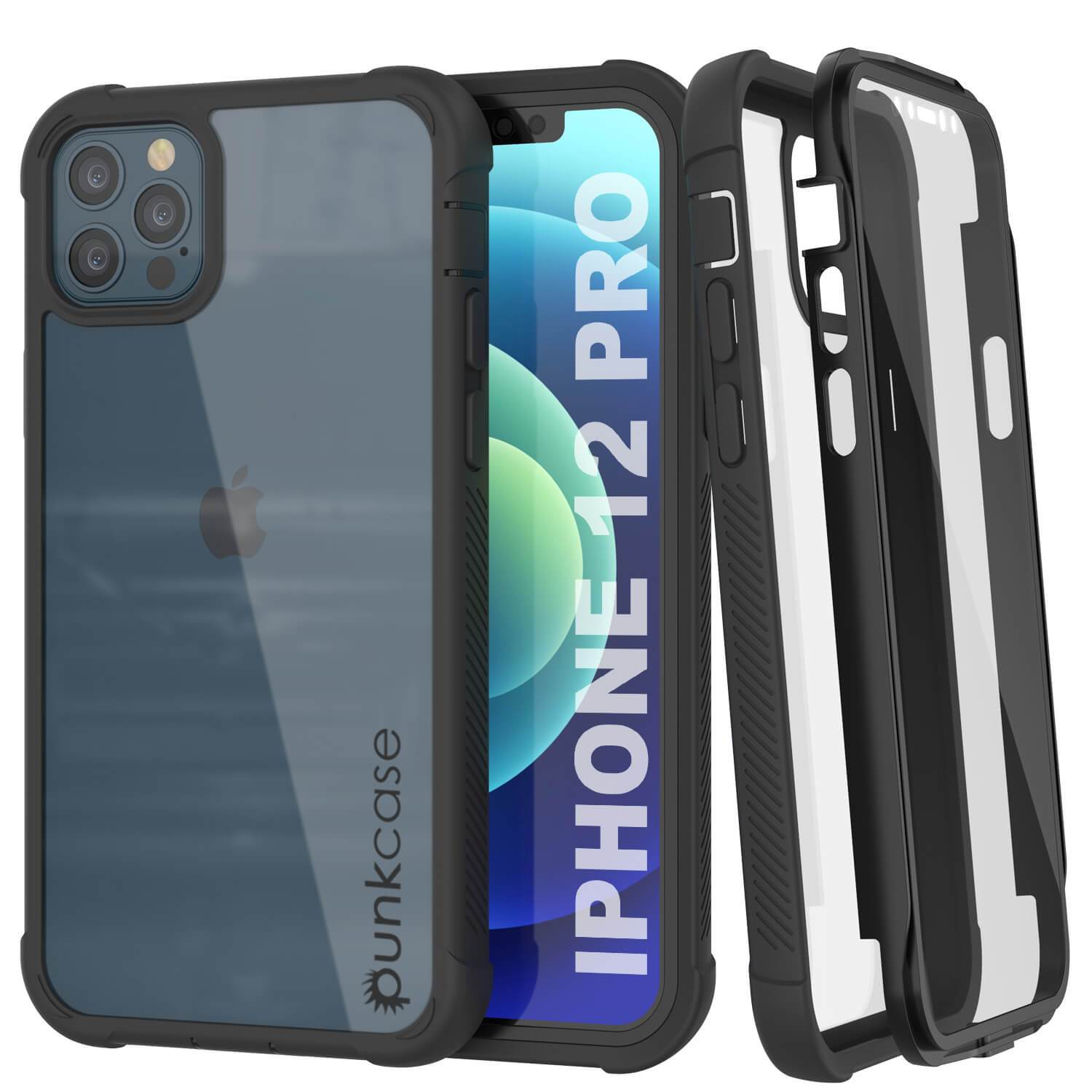 PunkCase iPhone 12 Pro Case, [Spartan Series] Clear Rugged Heavy Duty Cover W/Built in Screen Protector [Black]