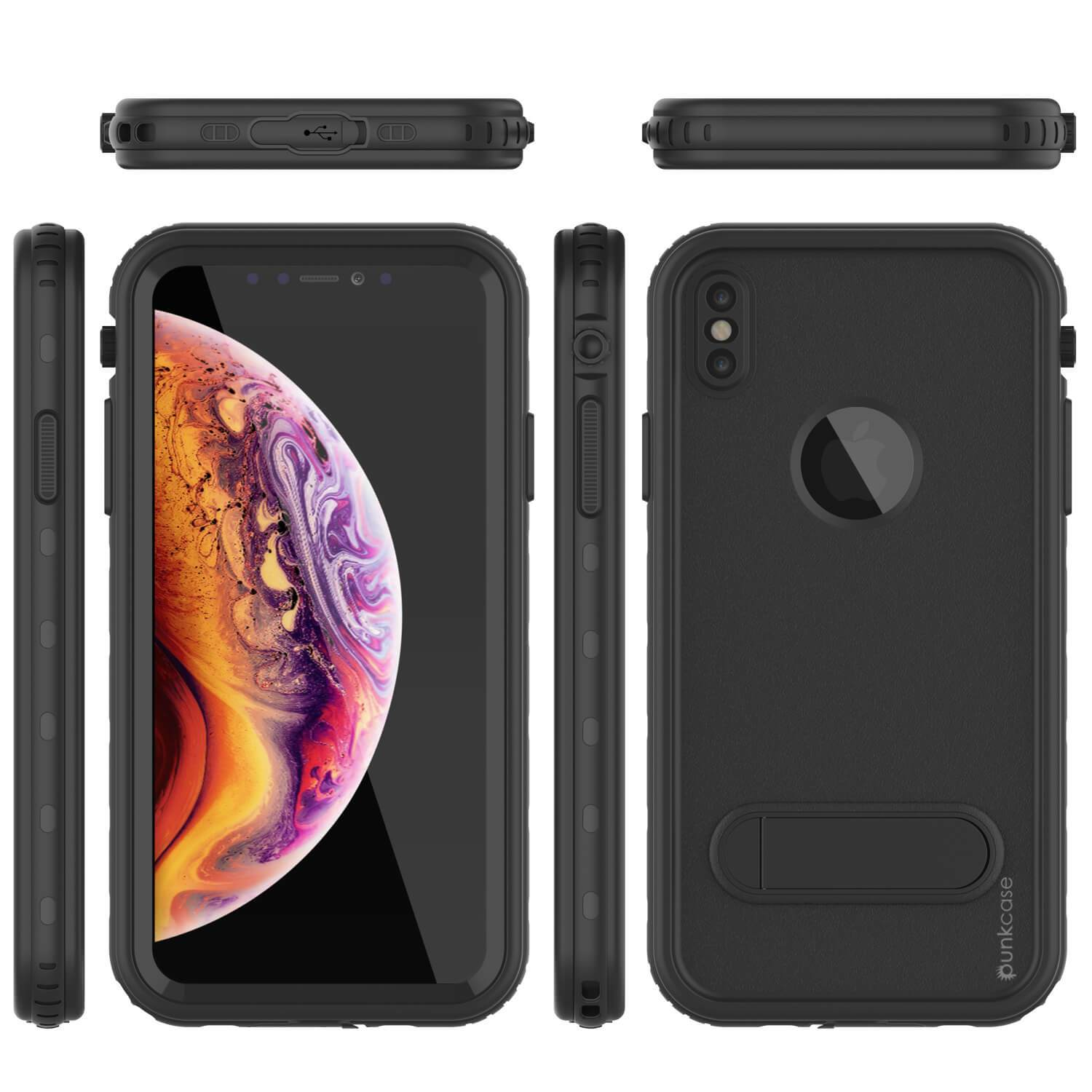 iPhone XS Max Waterproof Case, Punkcase [KickStud Series] Armor Cover [Black]