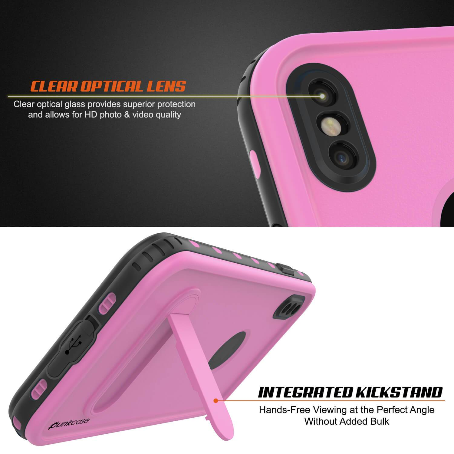 iPhone XS Max Waterproof Case, Punkcase [KickStud Series] Armor Cover [Pink]