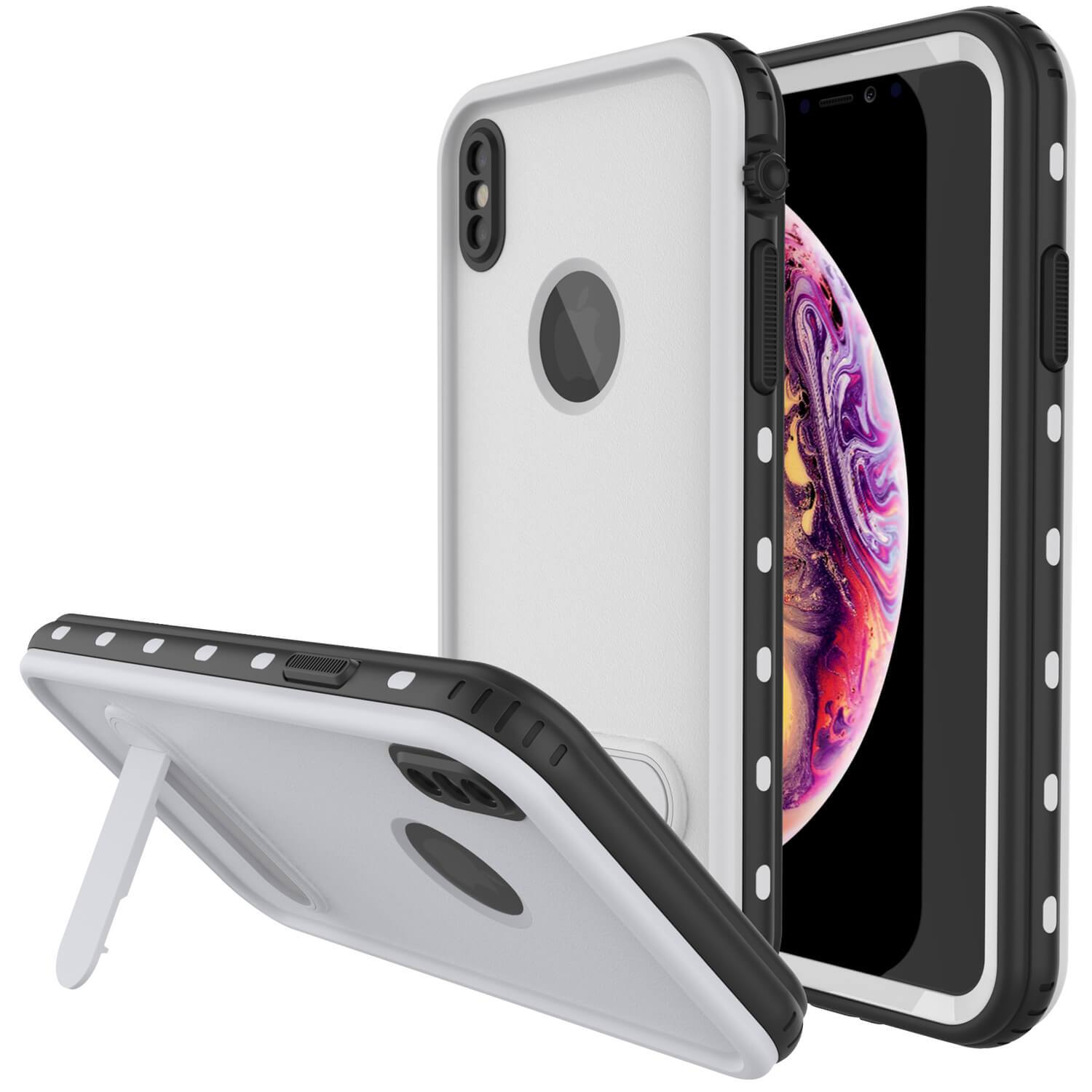 iPhone XS Max Waterproof Case, Punkcase [KickStud Series] Armor Cover [White]