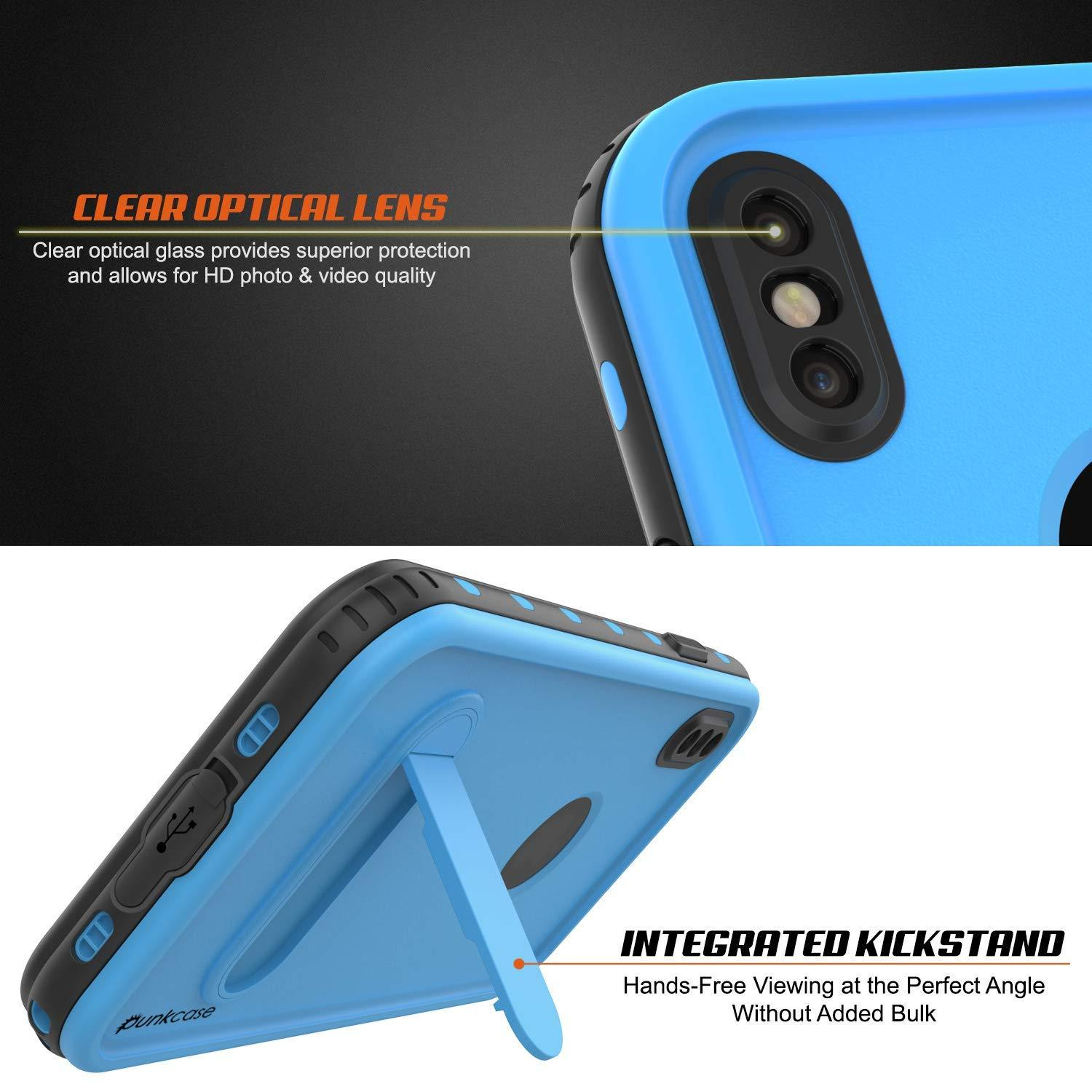 iPhone XS Waterproof Case, Punkcase [KickStud Series] Armor Cover [Light-Blue]