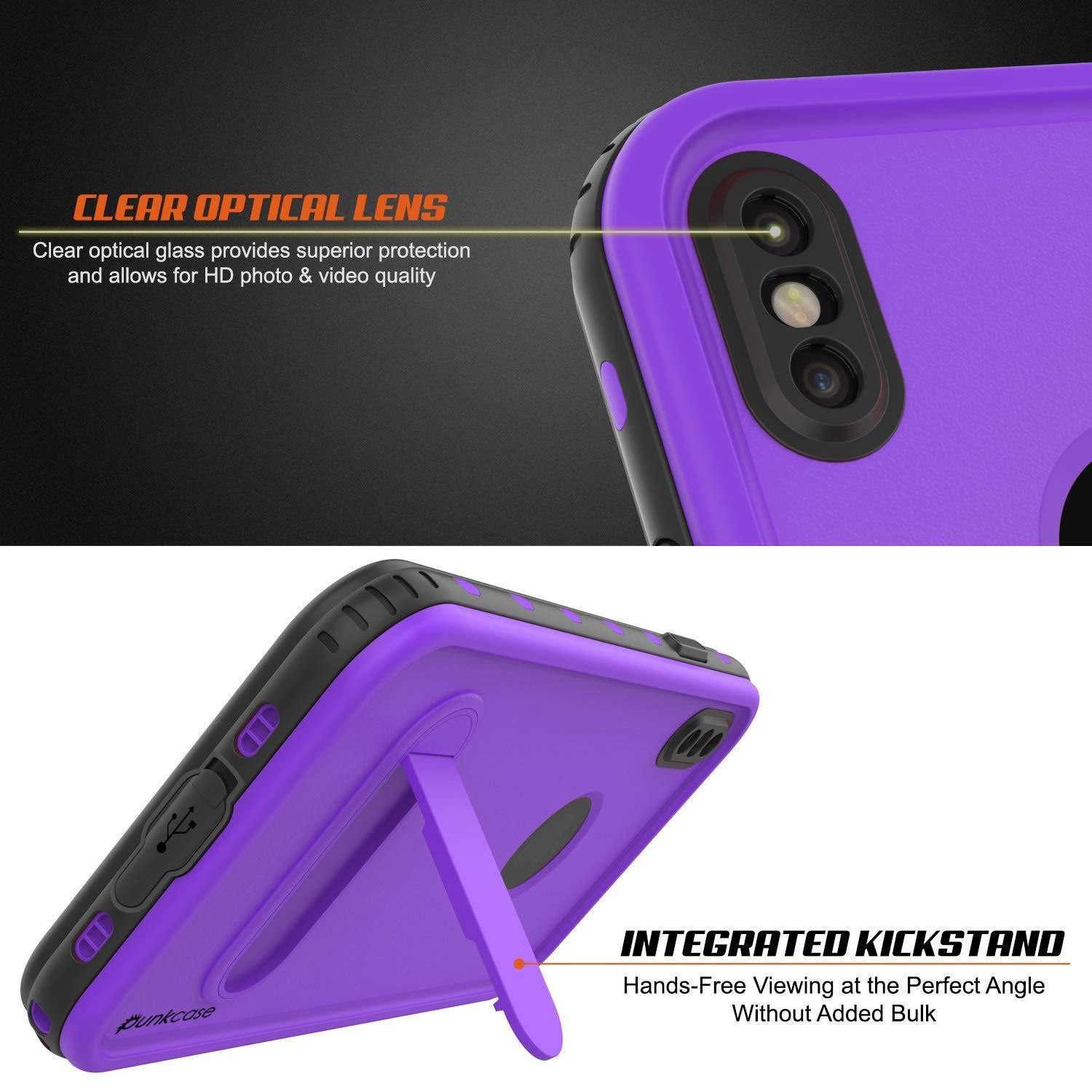 iPhone XS Waterproof Case, Punkcase [KickStud Series] Armor Cover [Purple]