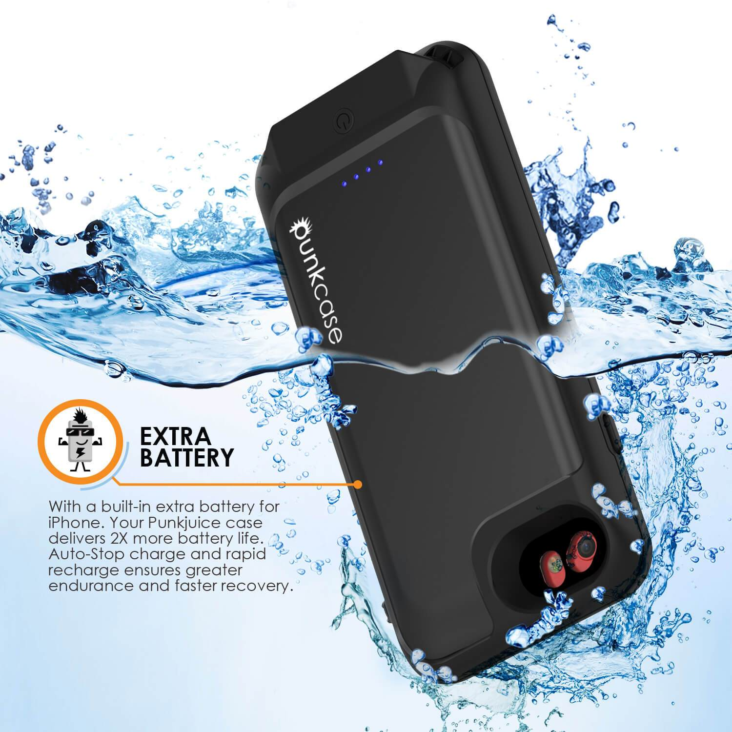 reputable site 86405 12f97 iPhone 6/6s Battery Case PunkJuice - Waterproof Slim Portable Power Juice  Bank with 2750mAh High Capacity (Jet Black)