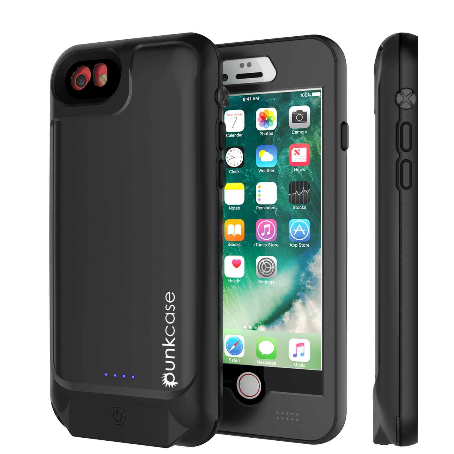 PunkJuice iPhone 7 Battery Case Black - Waterproof Slim Power Juice Bank with 2750mAh