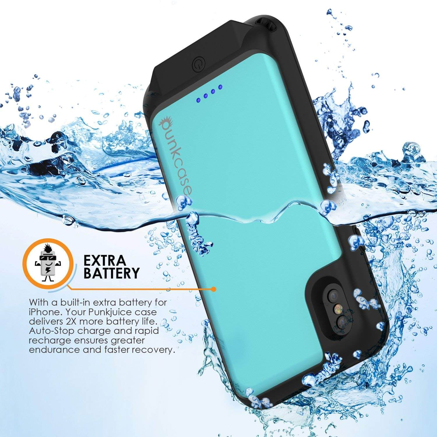 cheap for discount e6dc6 5d0ad PunkJuice iPhone X Battery Case, Waterproof, IP68 Certified [Teal]
