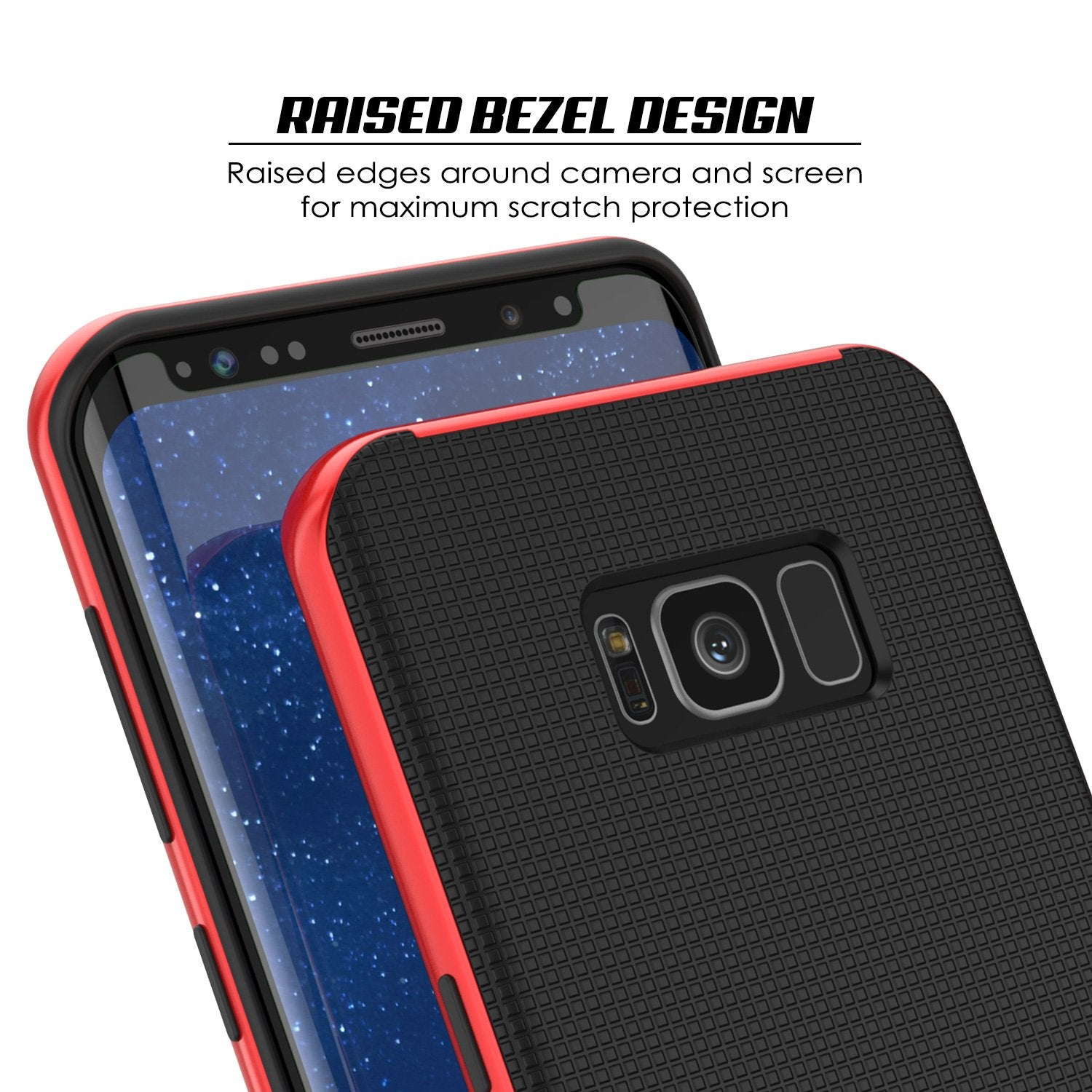 Galaxy S8 Plus PunkCase Stealth Hybrid 3-Piece Dual Layer Case, Red