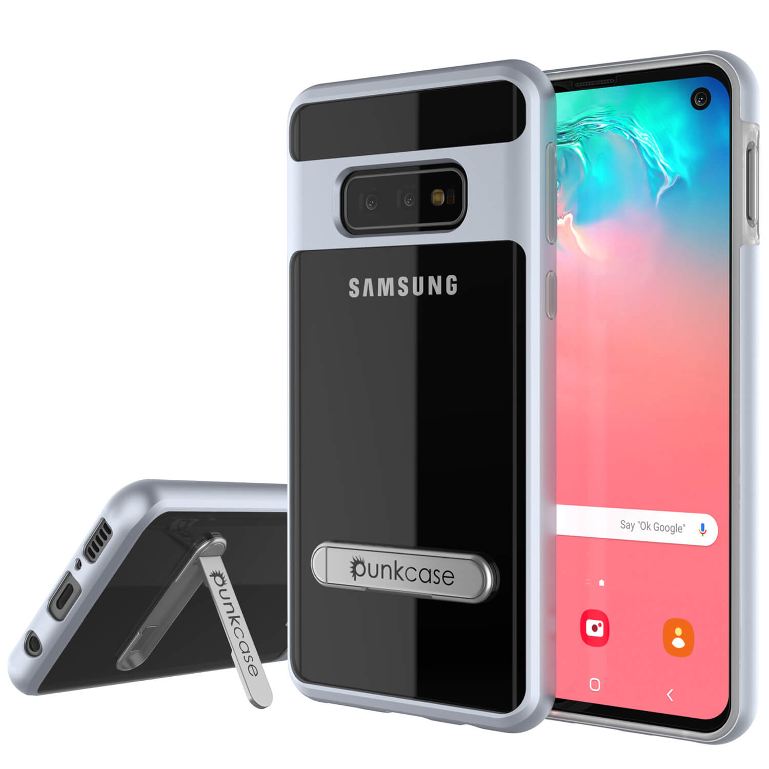 Galaxy S10e Case, PUNKcase [LUCID 3.0 Series] [Slim Fit] Armor Cover w/ Integrated Screen Protector [Silver]
