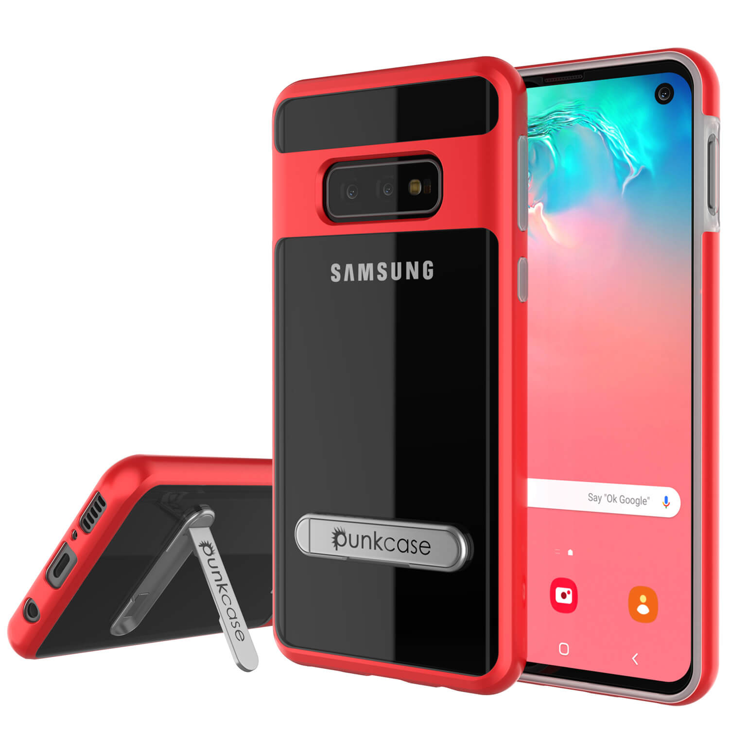 Galaxy S10e Case, PUNKcase [LUCID 3.0 Series] [Slim Fit] Armor Cover w/ Integrated Screen Protector [Red]