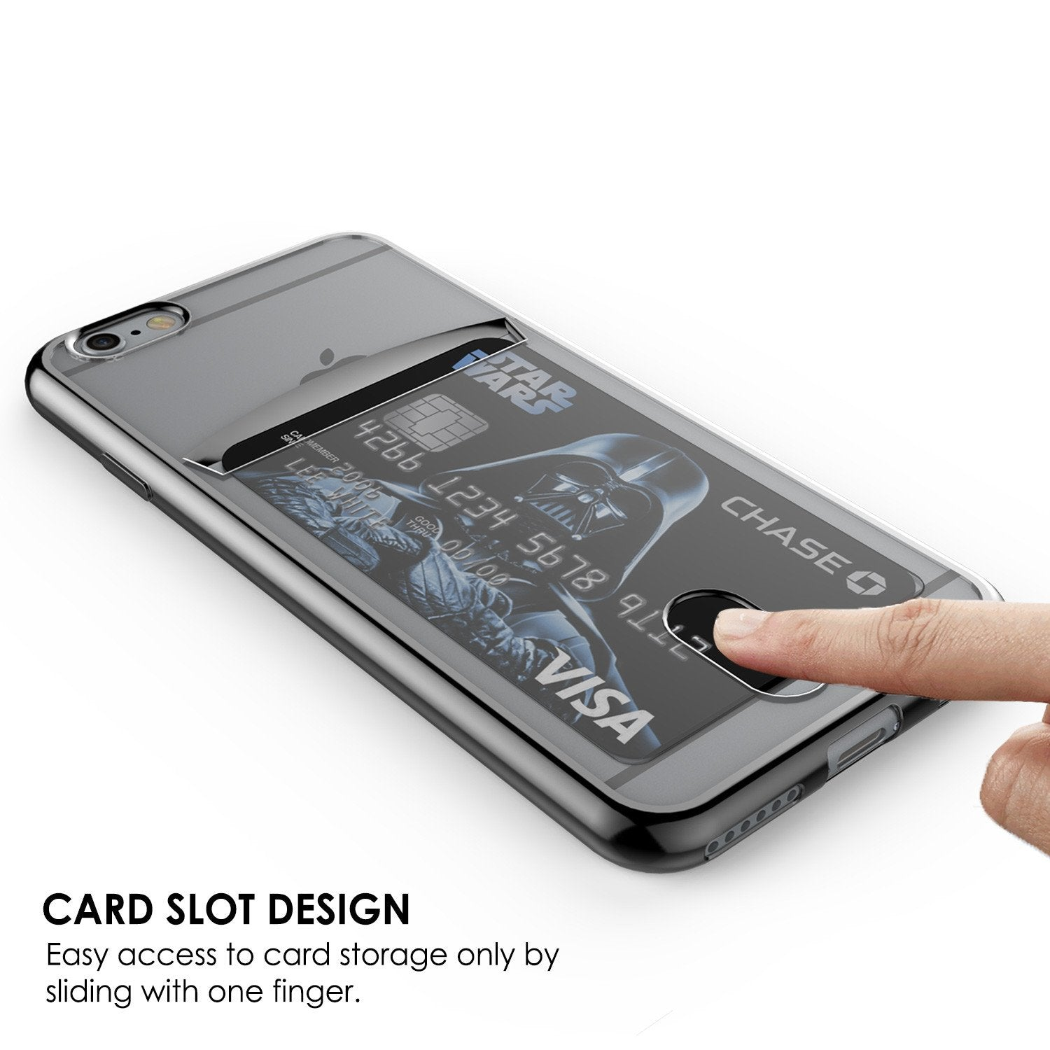 iPhone 6s/6 Case, PUNKCASE® LUCID Black Series | Card Slot | SHIELD Screen Protector | Ultra fit