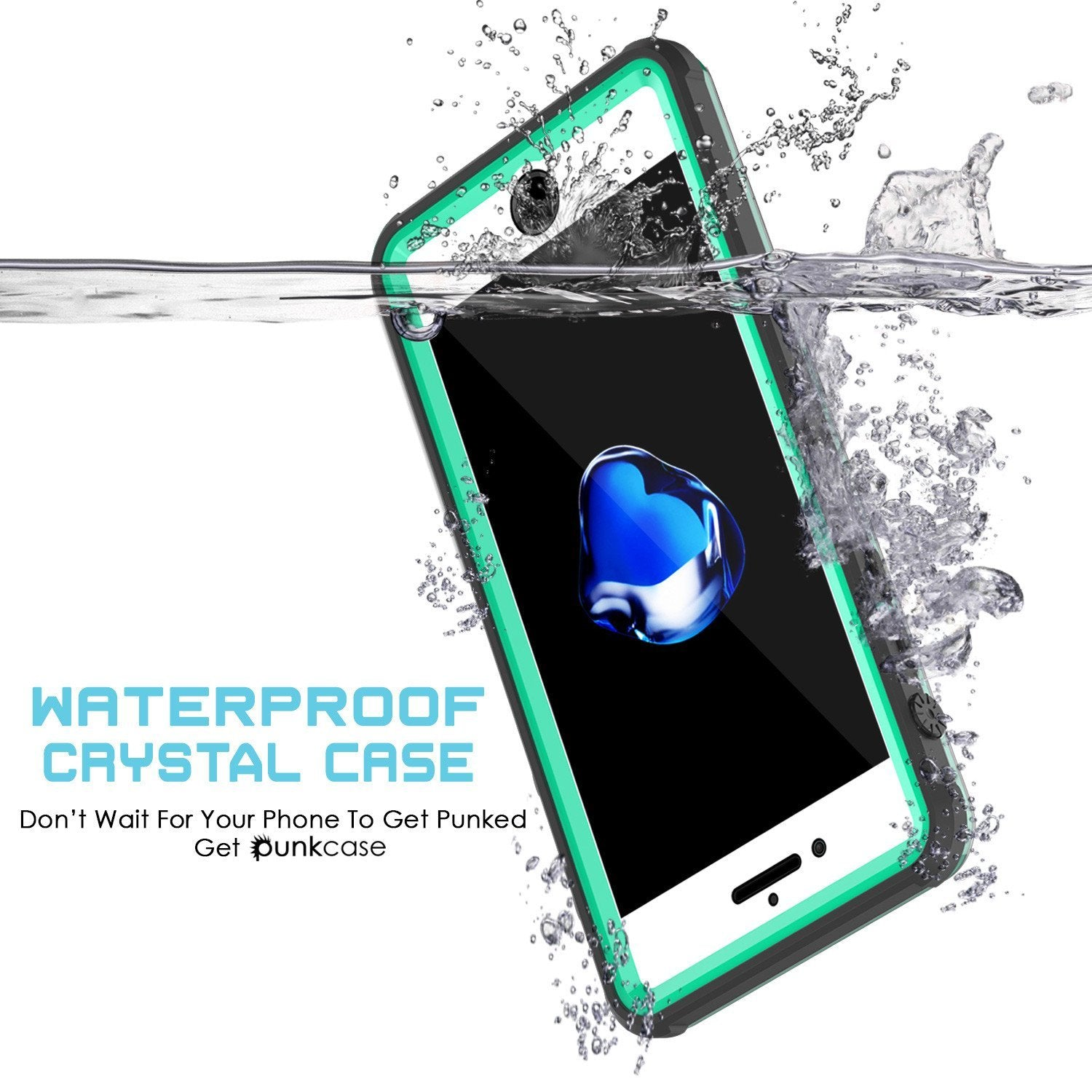 iPhone 8+ Plus Waterproof Case, PUNKcase CRYSTAL Teal W/ Attached Screen Protector  | Warranty