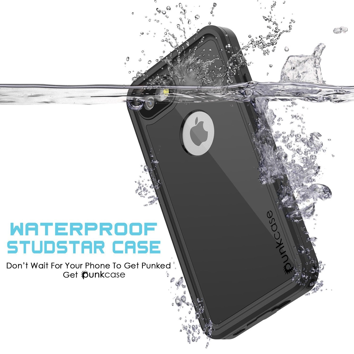 iPhone 7s Waterproof Case, Punkcase [Black] [StudStar Series] [Slim Fit] [IP68 Certified] [Shockproof] [Dirtproof] [Snowproof] Armor Cover for Apple iPhone 7 & 7s