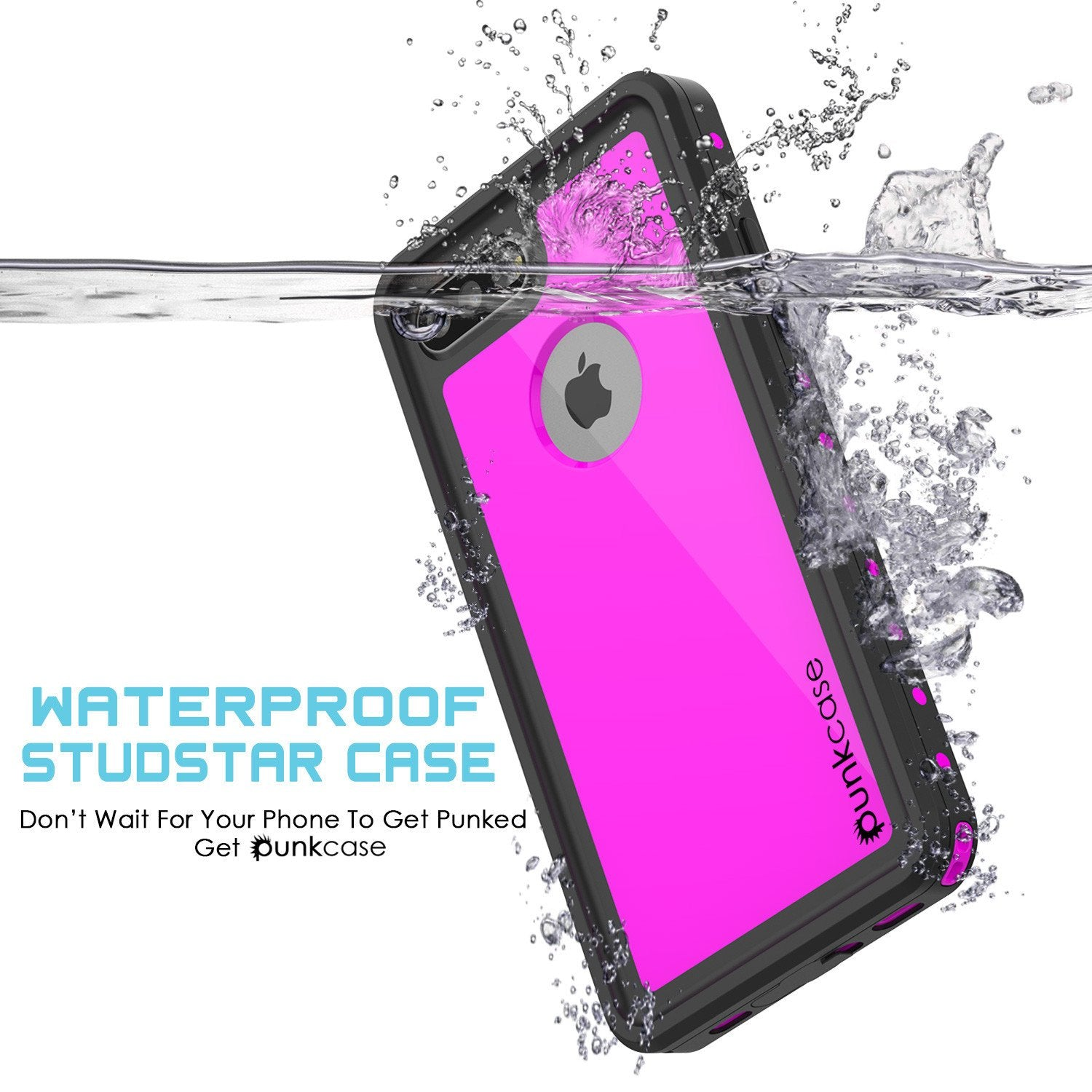 iPhone 7s Plus Waterproof Case, Punkcase [Pink] [StudStar Series] [Slim Fit] [IP68 Certified] [Shockproof] [Dirtproof] [Snowproof] Armor Cover for Apple iPhone 7 Plus & 7s +