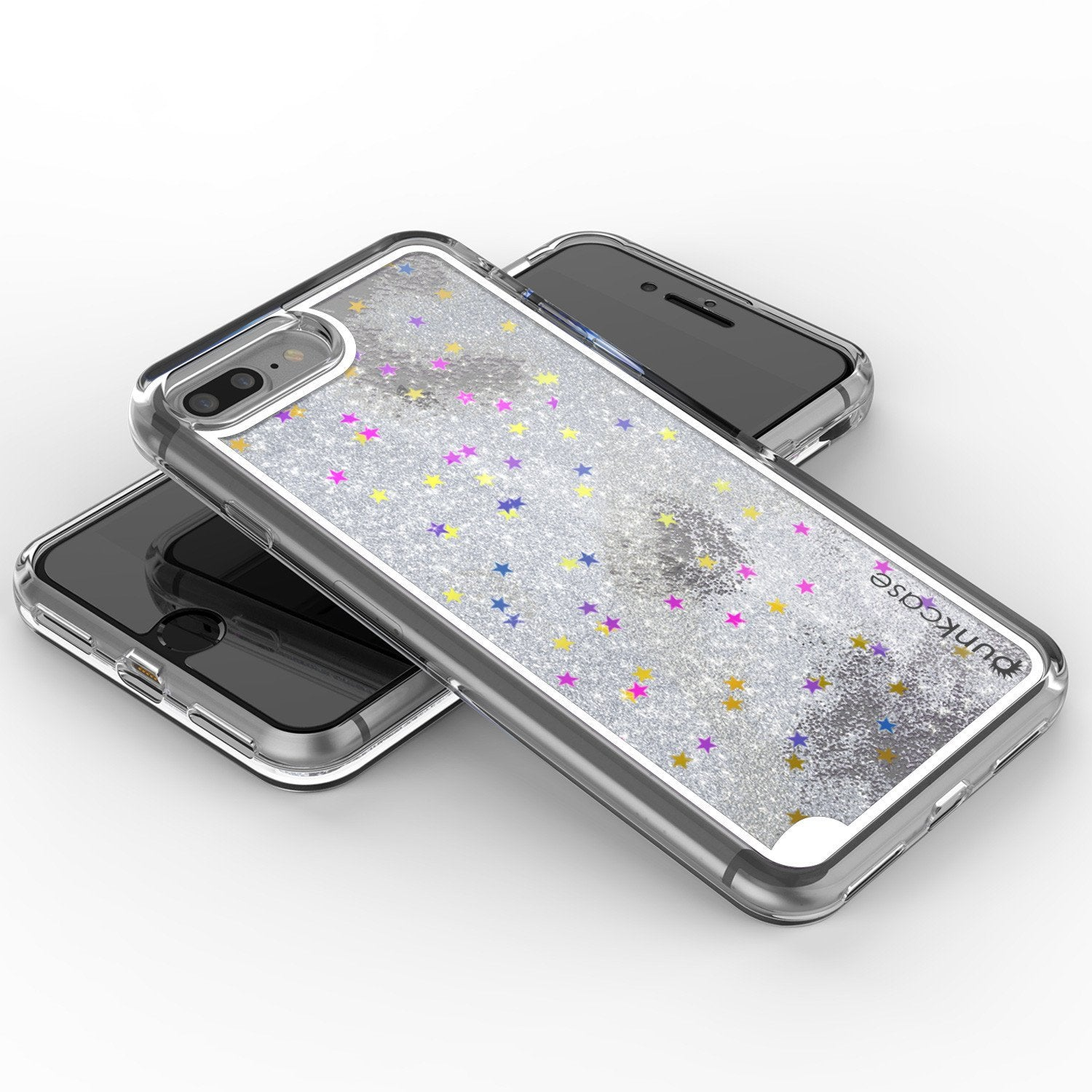 iPhone 7 Plus Case, Punkcase [Liquid Silver Series] Protective Dual Layer Floating Glitter Cover with lots of Bling & Sparkle + 0.3mm Tempered Glass Screen Protector for Apple iPhone 7s Plus