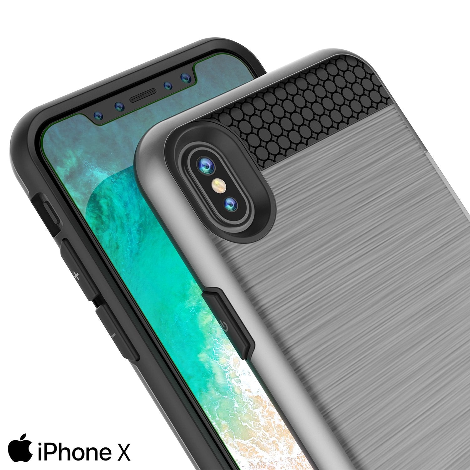 iPhone X ,Punkcase Slot Series Slim Fit Dual-Layer Cover [Silver]