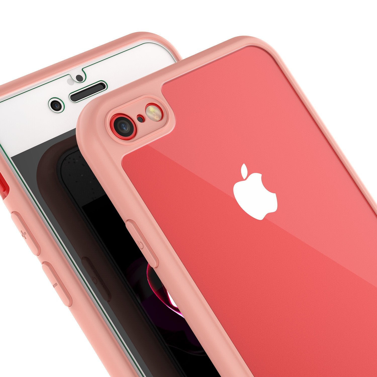 iPhone 7 Case, Punkcase [MASK Series] [PINK] Full Body Hybrid Dual Layer TPU Cover [Clear Back] [Non Slip] [Ultra Thin Fit] W/ protective Tempered Glass Screen Protector for Apple iPhone 7S