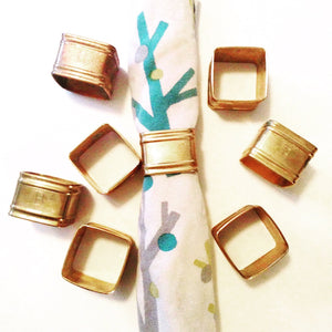 Vintage Copper Square Napkin Rings