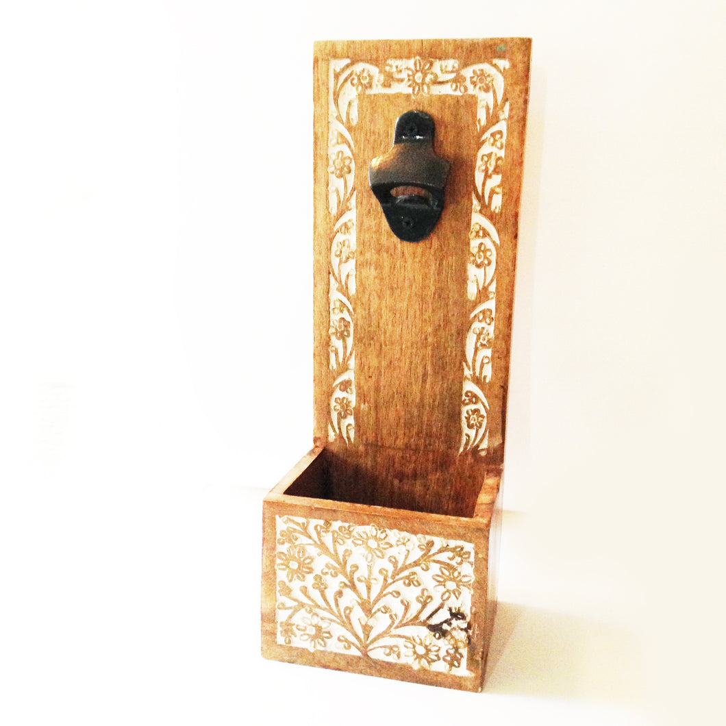 Farmhouse Style Wood Bottle Top Opener & Catcher.