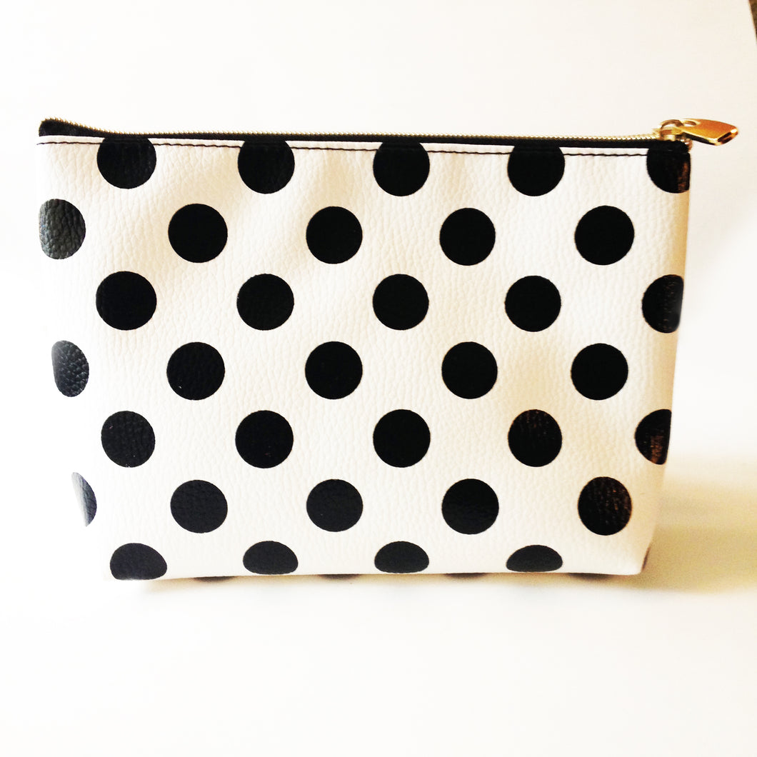 Black & White Polka Dot Zipper Pouch!