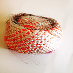 Vintage Wicker Pill Box Hat.