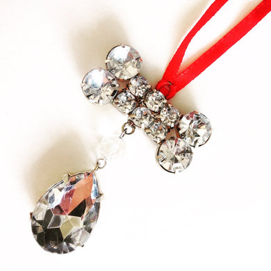 Crystal Dog Bone Christmas Ornament.