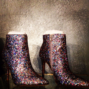Glitter-Encrusted Pointy Toe Stiletto Booties.