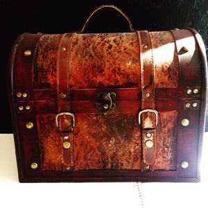 Brown Leather and Wood Chest