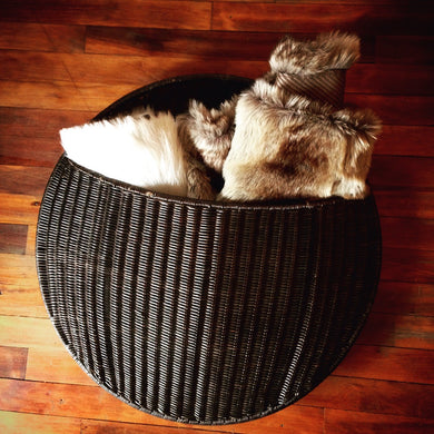Dark Brown Circular Wicker Basket