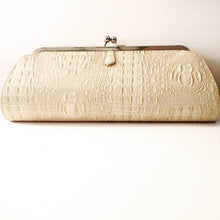Cream White Vegan Leather Clutch