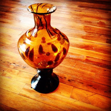 Glass Leopard Vase