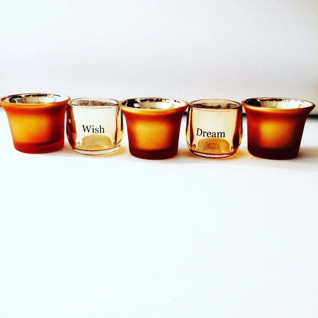 Gold and Glass Tea Light Candle holders