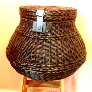 Dark Brown Wicker Basket with Latch