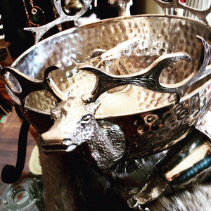 Vintage Reindeer Silver Bowl and Goblet Set