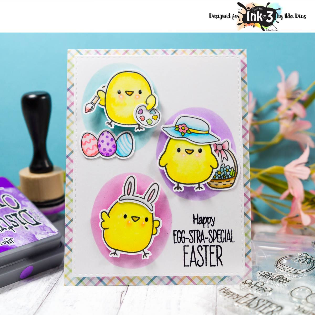 Easter card using Lil Chicks clear stamps by inkon3