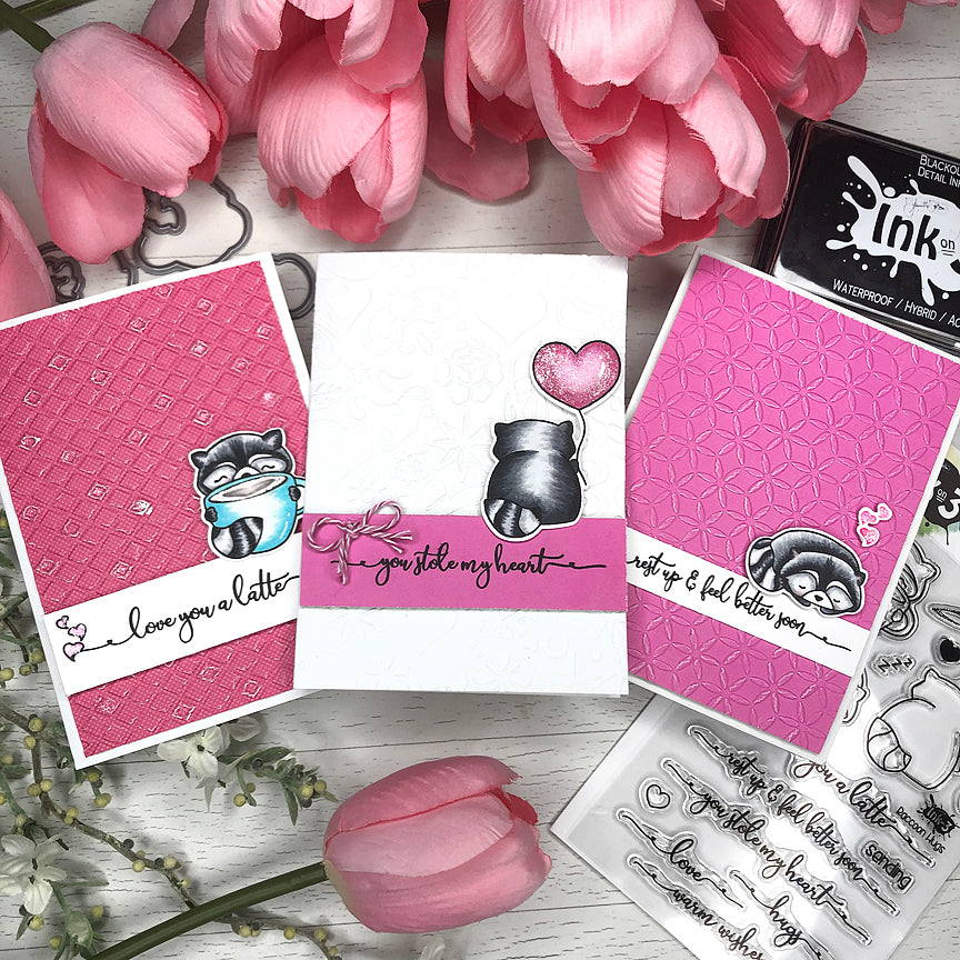 3 Easy Cards Using Raccoon Hugs Stamps ~ Cards by: Fleurette inkon3.com
