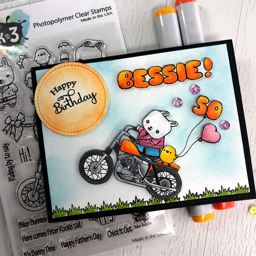 Biker Bunnies Clear Stamps Card Example by Fleurette