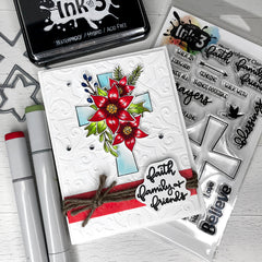Card Example Blessings / Poinsettia by Fleurette ~ inkon3.com