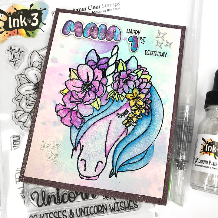 Magical Unicorn 4x6 Clear Stamp Set Inkon3.com