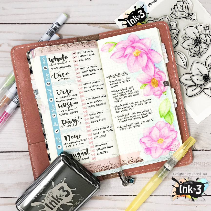 Planner Layout example by Cheryl Luu - no line coloring Fadeout ink & Big Bold Magnolia clear stamps inkon3.com Ink On 3