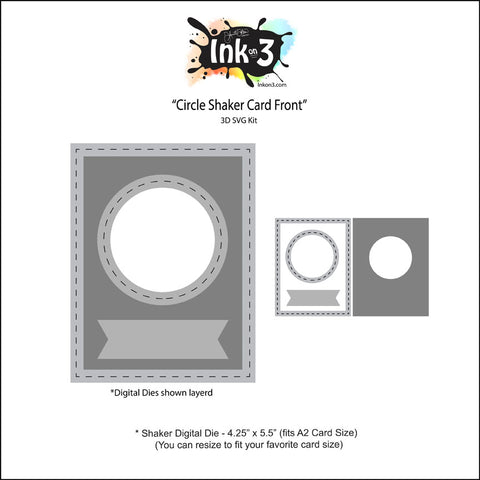 Shaker Circles Digital Die, Card Front SVG Kit