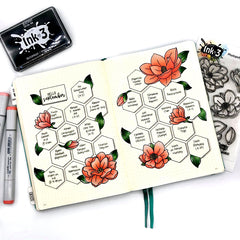 Courtney Planner layout - using Big Bold Magnolias Clear stamps & Blacout Ink by inkon3.com Ink On 3