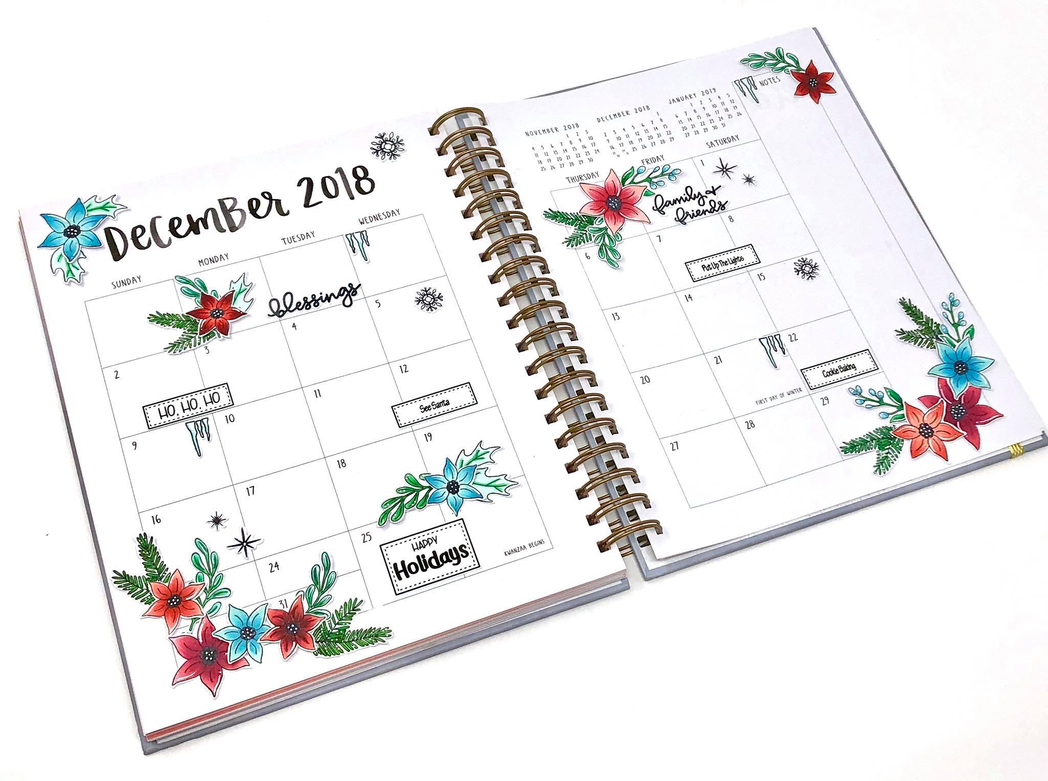 Planner Layout by Courtney ~ Poinsettia stamp set inkon3.com