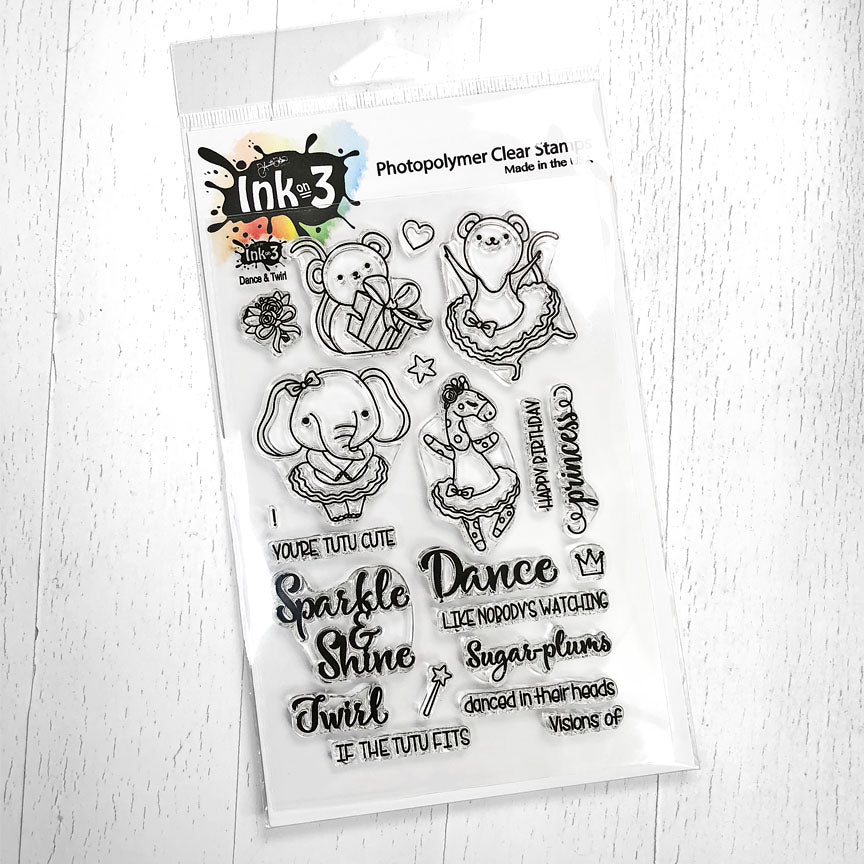 Dance & Twirl 4x6 Stamp Set Ink On 3
