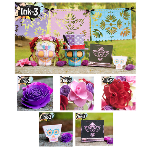 3D SVG Kit Dia De Los Muertos ~ Skulls, Flowers, Card, One Piece Box, Banners inkon3.com