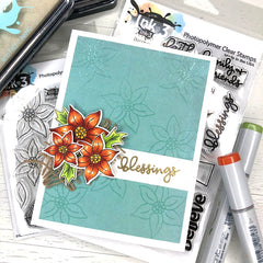 Fall Card Using the Blessings & Poinsettia stamps by Fleurette ~ inkon3.com
