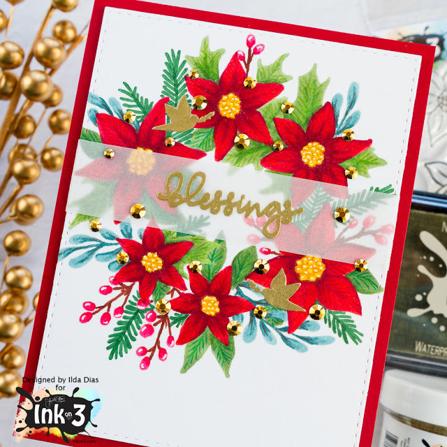 Card Example Blessings / Poinsettia  by Ilda ~ inkon3.com
