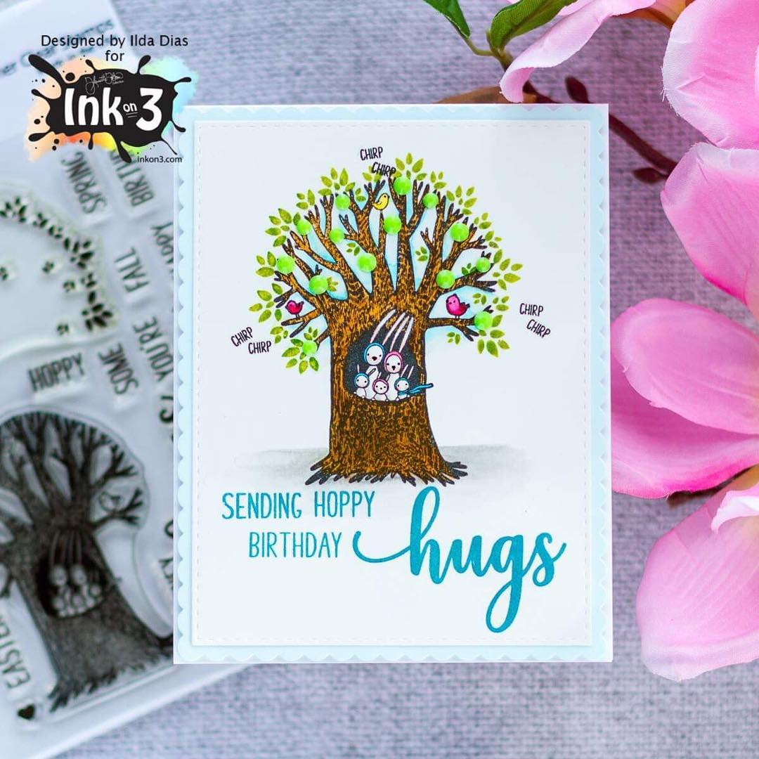 Bunny Hugs 4x6 Clear Stamps Card Example by Ilda Dias