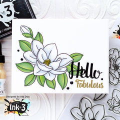 Card Example by Ilda - Big Bold Magnolias clear stamps by inkon3.com Ink On 3